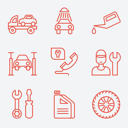 oiling: Car service icons, thin line style, flat design
