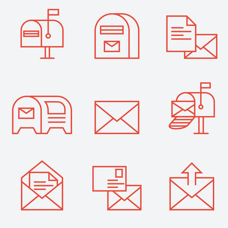 sent: Mail icon set, thin line style, flat design Illustration