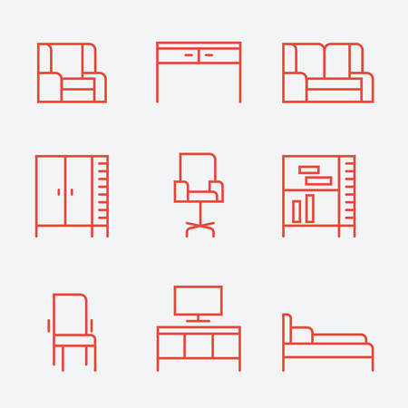home furnishings: Furniture icons, thin line style, flat design