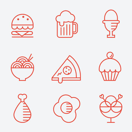 Food icons, thin line style, flat design Иллюстрация