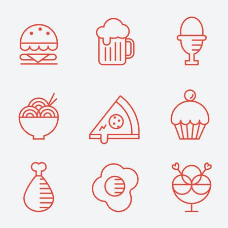 Iconos de los alimentos, estilo de línea delgada, diseño plano Foto de archivo - 60176057