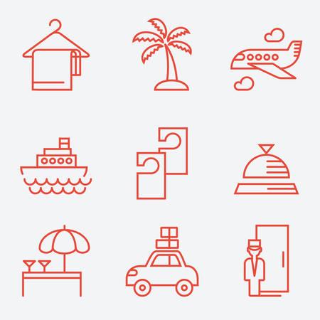 doorkeeper: Hotels icons, thin line style, flat design Illustration