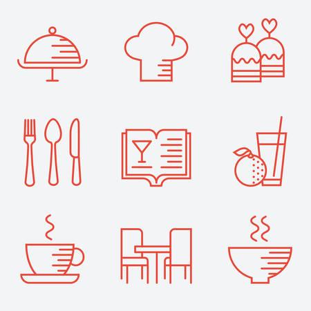 Restaurant iconen, dunne lijn stijl, plat ontwerp