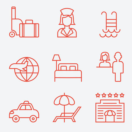 pool hall: Hotel icons, thin line style, flat design