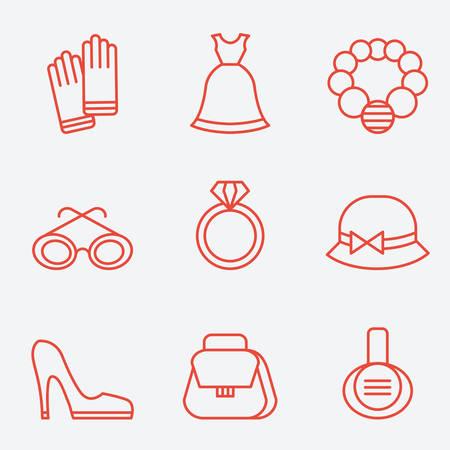 fashion accessories: Lady fashion accessories, thin line icons, flat design Illustration