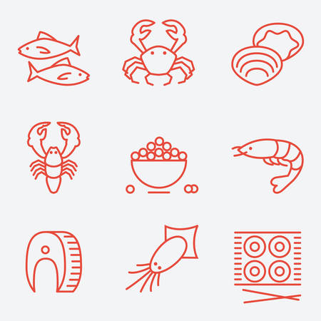 thin shell: Seafood icons, thin line style, flat design