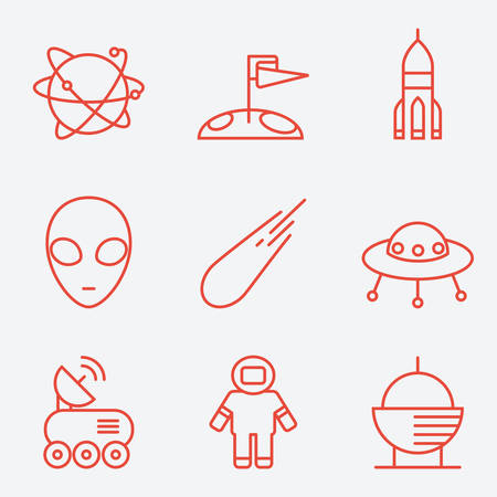 transmit: Space icons, thin line style, flat design