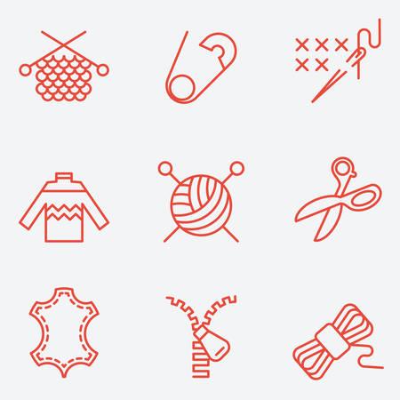 knitting: Knitting and needlework icons, thin line style, flat design Illustration