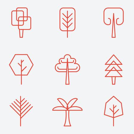 leafage: Tree icons, flat design, thin line style Illustration