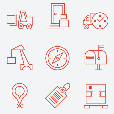 recipient: Logistic icons, thin line style, flat design