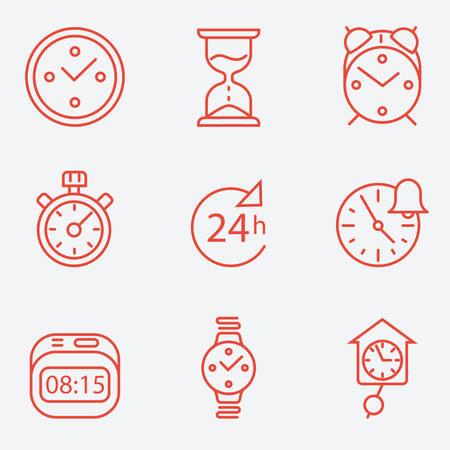 reloj cucu: Tiempo y reloj iconos, diseño plano, estilo de línea delgada