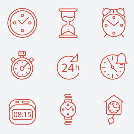 Time and clock icons, flat design, thin line style