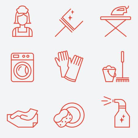 dishwashing liquid: Cleaning Icons, flat design, thin line style