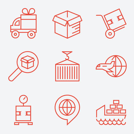 boxcar: Logistic icons, thin line style, flat design