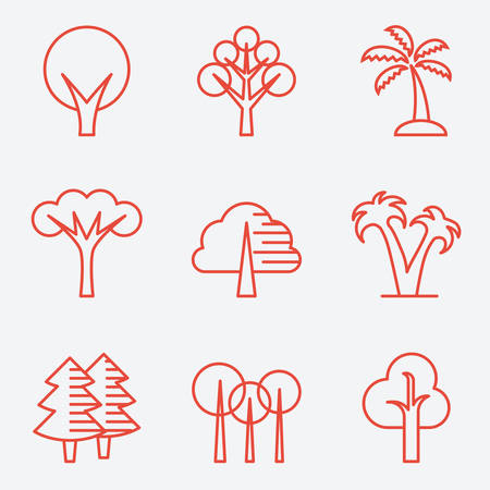 larch: Tree icons, flat design, thin line style Illustration