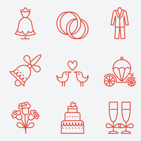 brougham: Wedding icons, thin line style, flat design Illustration