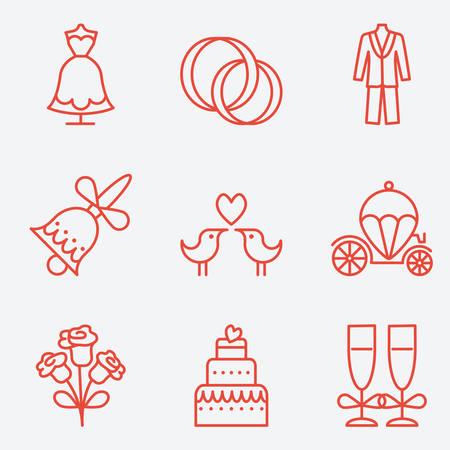 brougham: Wedding icons, thin line style, flat design Illustration