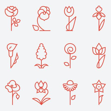 silhouette fleur: Fleurs icône, design plat, le style de ligne mince Illustration