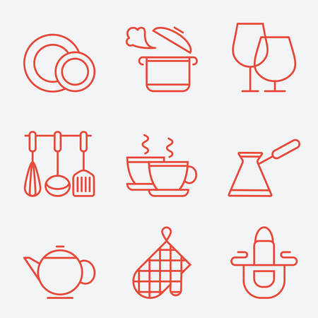 キッチン道具アイコン、細い線スタイル、フラット デザイン
