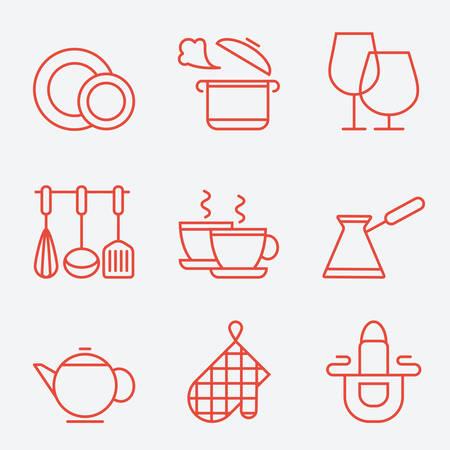Keukengerei iconen, dunne lijn stijl, platte ontwerp