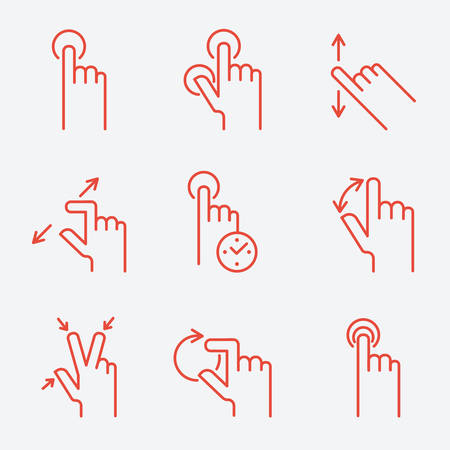 gestures: Touch gestures icons, thin line style, flat design Illustration