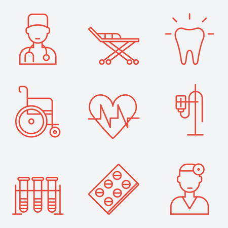 cardiologist: Medicine icons, thin line style, flat design