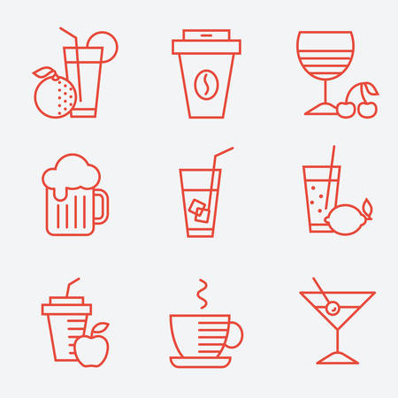 음료 아이콘, 평면 디자인,가는 선 스타일의 집합 일러스트
