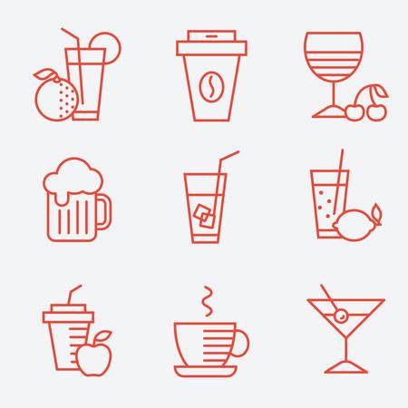 Set van drankjes pictogrammen, platte ontwerp, dunne lijnstijl Stock Illustratie