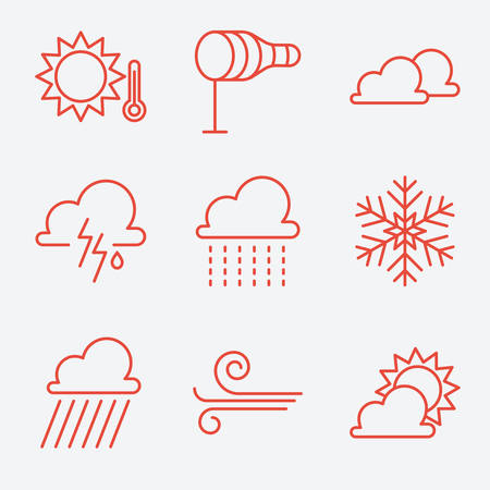 windy day: Weather icons, thin line style, flat design