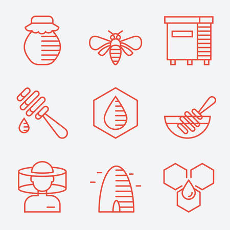 honeyed: Honey icons, thin line style, flat design