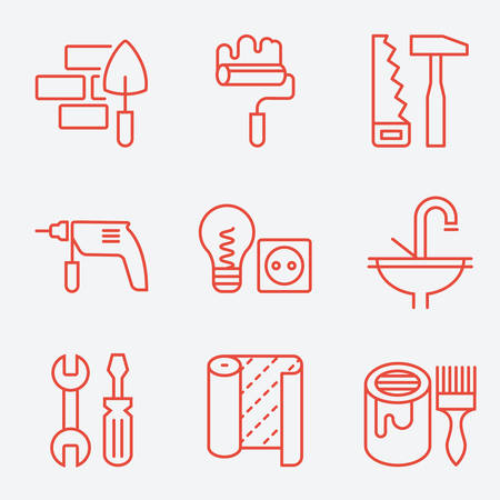 icon red: Home repair icons, thin line style, flat design