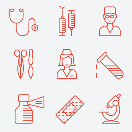 clamps: Medical and health care icons, thin line style, flat design
