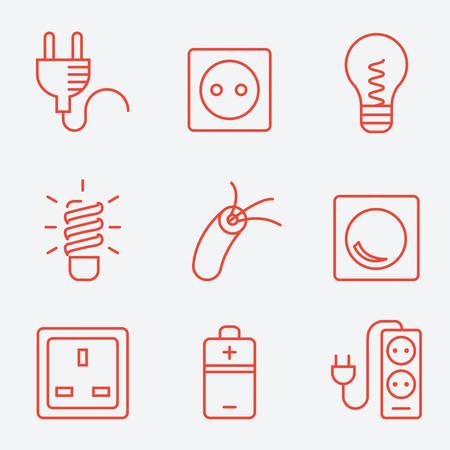 kilowatt: Electric accessories icons, thin line style, flat design