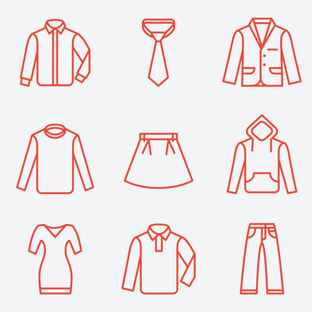 office wear: Clothes icons, thin line style, flat design