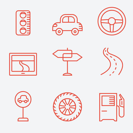 spares: Road icons, thin line style, flat design