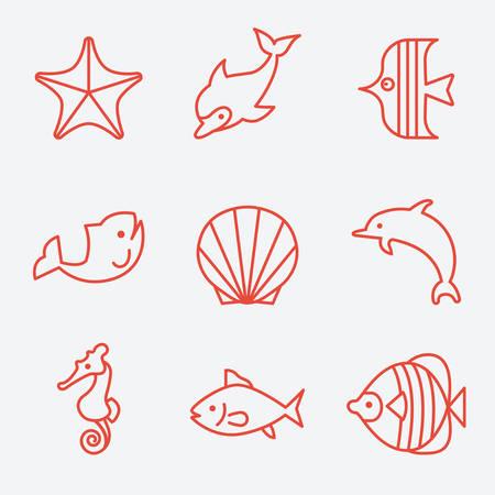 fauna: Sea fauna and fish icons, thin line style, flat design