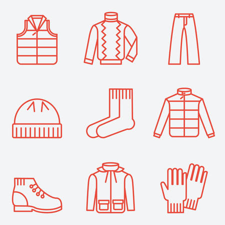 anorak: Clothes icons, thin line style, flat design