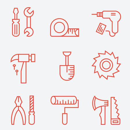 perforator: Tools icons, thin line style, flat design Illustration