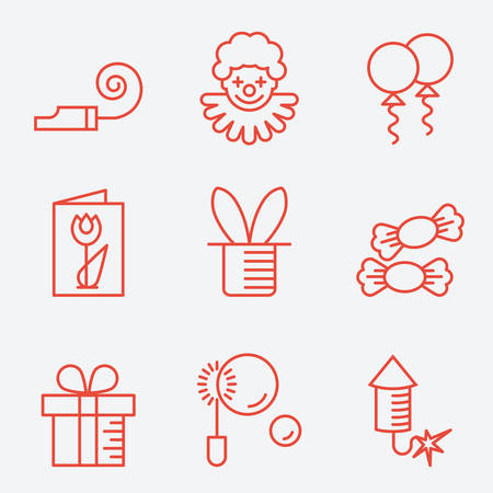 party horn blower: Party icons, thin line style, flat design