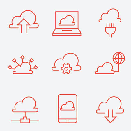 setting: Cloud computing icons, thin line style, flat design