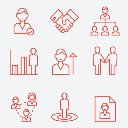 man style: Human management, thin line style, flat design Illustration