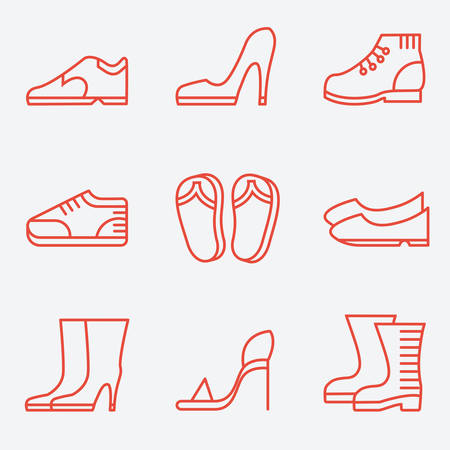 ladies shoes: Footwear icons, thin line style, flat design Illustration