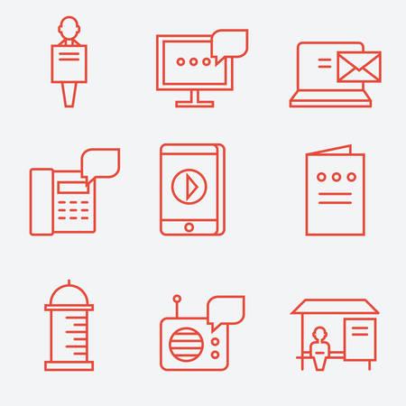 Advertisement icons, thin line flat design Illustration
