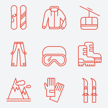 ski pass: Winter sport icons, thin line style, flat design