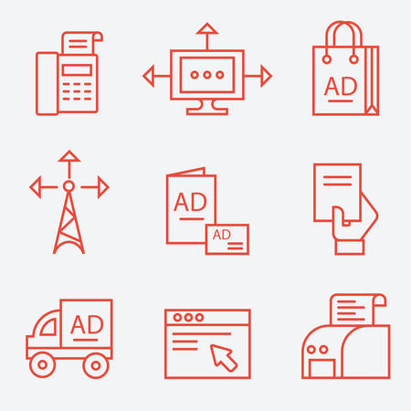 Advertisement and media icons, thin line flat design