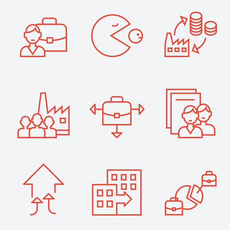 business icon: Mergers and acquisitions companies icons, thin line flat design