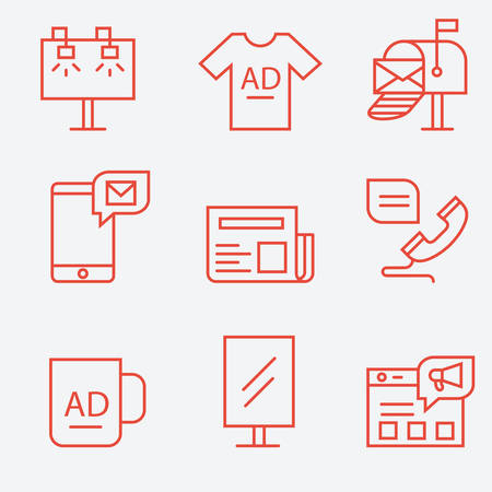 advertisers: Advertisement and promotion icons, thin line flat design Illustration