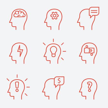 mente humana: Iconos de la mente humana, estilo de línea delgada, diseño plano