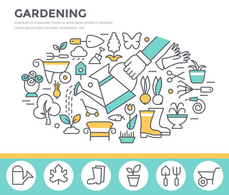 Gardening and horticulture concept illustration, thin line flat design Illustration