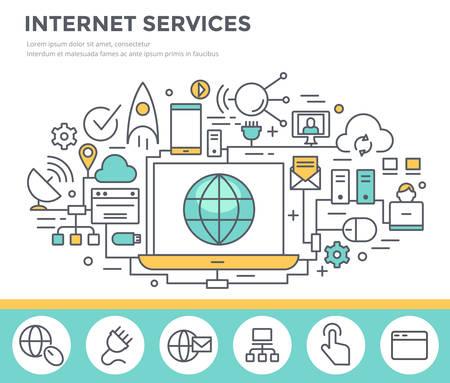 alto: Internet concepto de servicio ilustración, diseño plano delgada línea